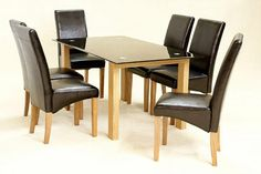Fine #DiningTable in Black Glass with 6 #chairs
