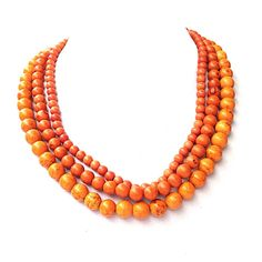 Orange statement necklace -  fall jewelry - multi strand necklace with Free bracelet 11 color options on Etsy, $58.00