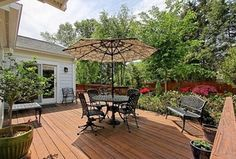 Traditional Deck with French doors, Fence