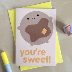 You're Sweet Valentine's Day Card - Kawaii Pancake (2.00 GBP)