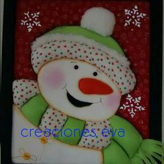Cuadro password. Muñeco de nieve. Fajardo, Felt Christmas, Christmas Ornaments, Craft Projects, Projects To Try, Mini Quilts, Felt Toys, Picture Frames, Snowman