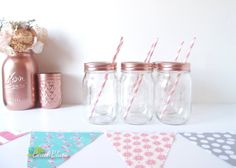 Mason Jar Glasses (1) Lids Copper Rose Gold Party Decor Drinking Glass Clear Drinkware Tumbler