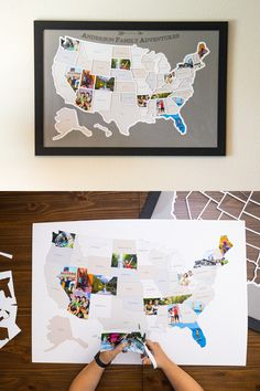 Add your own photos from every state in the USA to capture a lifetime of memories and create a one-of-a-kind map showing where you've been or where you're going. Learn the ways to take the best photos while you're traveling! Diy Crafts To Sell, Diy Crafts For Kids, Home Crafts, Sell Diy, Photo Projects, Craft Projects, Projects To Try, Ec 3, Wal Art