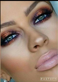 Purple and bronze eye makeup