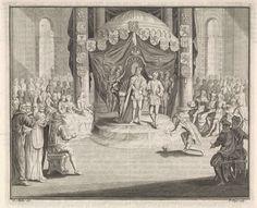 Pieter Tanjé | Keizer Karel V draagt het bestuur van Nederland over aan Filips II, Pieter Tanjé, 1716 - 1761 | Keizer Karel V, staande onder een baldakijn met wapenschilden, draagt op 25 oktober 1555 het bestuur van Nederland over aan zijn zoon Filips II.
