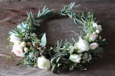 Succulent Flower Crown // feathered eucalyptus, spray roses and succulents Vintage Wedding Hair, Wedding Hair Flowers, Bridal Flowers, Flowers In Hair, Wedding Bouquets, Flower Crown Hairstyle, Crown Hairstyles, Floral Headpiece, Spray Roses