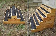 Stair step raised garden bed for small garden space