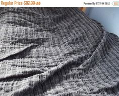 Autumn sale Lovely Natural Heavy Plise Black and by LinenFactory