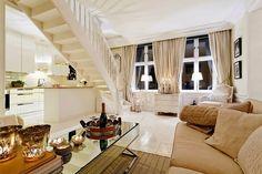Jurnal de design interior - Amenajări interioare : Tonuri neutre într-un penthouse pe două nivele