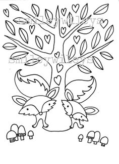 Animal Colouring Pages, Fox and Bunny Colouring Pages, Printable PDFset of 2 pages