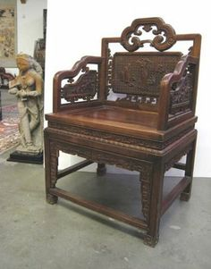chinese wood carvings   Pair of Beautiful Chinese Carved Huali Wood Chairs.