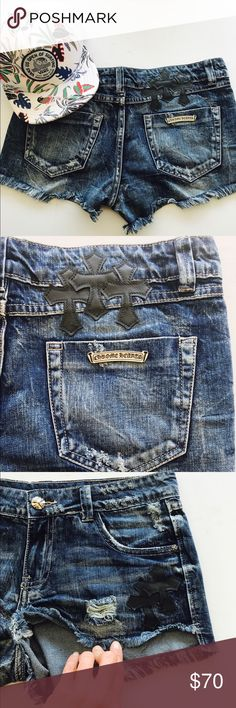 Chrome Hearts Denim Frayed Distressed Shorts Sz28 Chrome Hearts Denim Frayed Distressed Shorts Sz28, in good used condition. Ships immediately. True to size Chrome Hearts Shorts