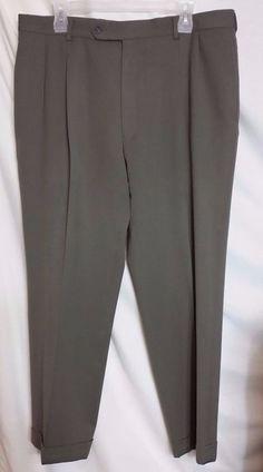Jos A Bank Traveler Green Wool Blend Pleated Cuffed Pants SZ 36W x 27L #JosABank #DressPleat