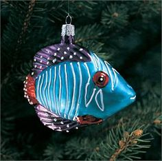 Hand-blown and hand-decorated glass Tropical Fish Christmas tree ornament.