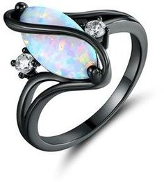 Peermont Black Rhodium Plated White Fire Opal & Cubic Zirconia Accents Ring.