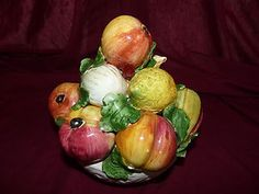 Vintage Ceramic Hand Painted Fruit Basket Table Display $24.00