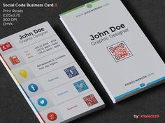 Beautiful vertical social code business card template with embedded QR code. This is premium design available for download from Graphicriver.