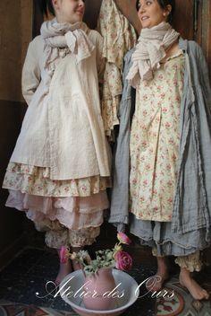 MLLE PENELOPE : robe en lin petit vichy Les Ours, petite robe fleurie Les Ours, jupon petit vichy Les Ours, saourel Les Ours - Atelier des Ours.