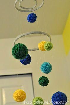 DIY : Mobile en balles de laine