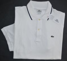 New Lacoste Medium 5 Lacoste Mens short sleeve polo shirt solid white top NWT