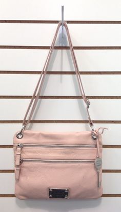 Nicole by Nicole Miller Pink Leather Cross Body / Shoulder Bag Colorful Lining SOLD! Was available at Gadgets and Gold.