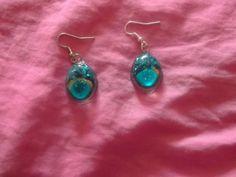 Silver Peacock Blue Resin Earrings by missy69 on Etsy, $4.99