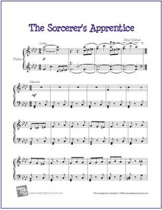 The Sorcerer's Apprentice - Free Easy Piano Sheet Music Print Sheet Music, Easy Piano Sheet Music, Piano Music, Music Music, Free Printable Sheet Music, Free Sheet Music, Piano Lessons, Music Lessons, The Sorcerer's Apprentice