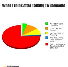 Pie graph of what someone with social anxiety likely thinks after a conversation. True life, only I think the red section should be a sliver bigger ha ha. Infp, Introvert, Mbti, Funny Pie Charts, Pie Graph, Funny Quotes, Funny Memes, My Demons, Good Jokes