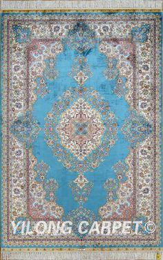 Blue Kashmir Silk Carpet Antique Oriental Carpet Materials: Silk Dyeing: vegetable dyeing Technology: Hand Knotted Size: 2'x3' -14'x20'    Fit for: bedroom, living room, dining area, foyer, back door, porch, office etc. … Email: alice@yilongcarpet.com  WhatsApp/Tel/Wechat: +86 156 3892 7921 #turkishhandwovensilkcarpet #kashmarcarpets #chineseturkishcarpet