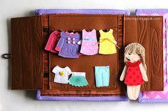Handmade quiet book Dollhouse, busy book for girl, dressing,  Развивающая книжка Кукольный домик, шкаф с одеждой для куклы