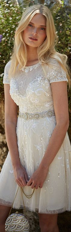 bhldn fall 2015 wedding dresses beaded short sleeve embroideried lace beaded knee length short ivory wedding dress gwendolyn #shortweddingdress #2016weddingdresses