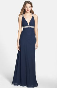FAVIANA Beaded Lace Trim Chiffon Gown available at #Nordstrom