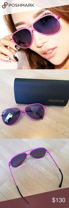 Wildfox • Airfox II Aviators Wildfox Couture Airfox 2 Sunglasses, I feel the need.... The need for speed! The Deluxe version of this aviation necessity features a flash, mirror lens, with lots of hidden details, with the WILDFOX horse crest logo inside the adjustable nose pads, WILDFOX laser-inscribed across the top of the lens, and logos added to the acetate temple tips. The case and soft pouch are included.   Materials: Italian Acetate. Metal frames Eye width: 57mm Bridge Width: 12mm…