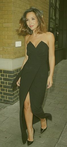 Myleene Klass channels Hollywood glamour as she shows off her assets in  strapless thigh-split gown to attend movie screening 086fbbec4