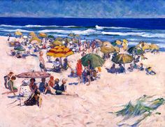 """""""Ogunquit Beach, Maine,"""" Gertrude Fiske, 1924, oil on canvas, 25 x 30"""", Colby College Museum of Art."""