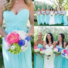 Elegant Cheap Bridesmaid Dresses Light Mint Blue Chiffon 2015 Sweetheart Pleat A-Line Custom Made Wedding Maid of Honor Dress Evening Gowns Online with $76.3/Piece on Sweet-life's Store | DHgate.com
