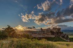 Sunset at Beckov castle by Ľuboš Balažovič on Landscape Photos, Old World, Statue Of Liberty, Monument Valley, Mount Rushmore, Tourism, Clouds, Vacation, Sunset