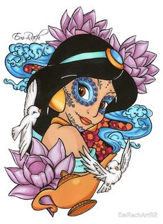 """""""Jasmine Disney Day Of The Dead Style"""" Posters by EmRachArt92 