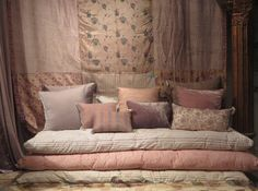 Lovely textile store, Le Monde Sauvage, boho and ethnic chic Futons, Floor Seating, Home And Deco, Floor Cushions, Soft Furnishings, Apartment Living, Interior Inspiration, Living Room Designs, Furniture Design