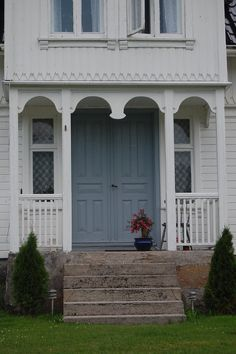 White & blue Swedish porch