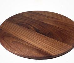 12 Round Walnut Cutting Board  Dark Walnut Chopping by SodaCreek