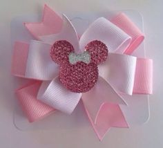 White And Light Pink w Bling Minnie Mouse Resin Center Hair Bow (see variations)…