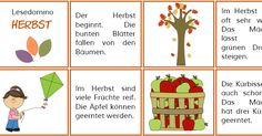 """Hier (nach längerer Schulstart-keine-Zeit-für-Posts :-)) ein Lesedomino zum Thema Herbst. Mit dem """"Ende""""-Kärtchen zum Schluss haben die Sch..."""