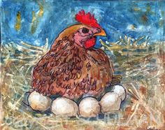 Hen Art | farm animal watercolor painting | fine art print | Chicken laying eggs in nest | country kitchen decor