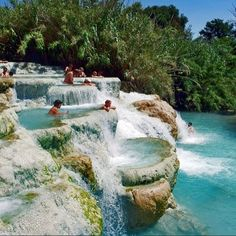 The Termi di Saturnia, in Tuscany, Italy reaches temperatures up to 100 degrees F!