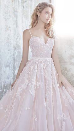 Blush wedding dress by Hayley Paige - Arden from the Hayley Paige 2018 spring collection #weddingdresses #blushwedding Blush/amethyst