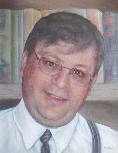 This man was a well loved teacher and NDP leader on Prince Edward Island. He passed away much too soon. His family commissioned the portrait for his parents for Christmas one year. Oils on canvas.
