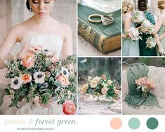 peach and forest green wedding inspiration