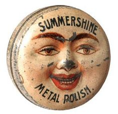 Wonderful, small sample size product tin for Summershine brand metal polish (Summers Co. New York) featuring great figural embossed face on lid. Sold at: Wm Morford Antiques Looking to Buy or Sell? Vintage Tins, Vintage Antiques, Vintage Party, Tin Containers, Vintage Packaging, Tin Toys, Vintage Advertisements, Old Things, Advertising
