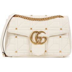 Gucci GG Marmont medium white leather shoulder bag ($1,715) ❤ liked on Polyvore featuring bags, handbags, shoulder bags, quilted chain shoulder bag, chain shoulder bag, gucci shoulder bag, white shoulder bag and leather shoulder handbags